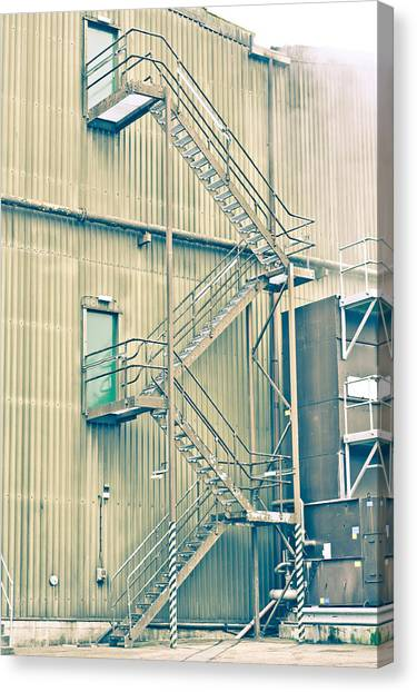 Nuclear Plants Canvas Print - Factory Steps by Tom Gowanlock