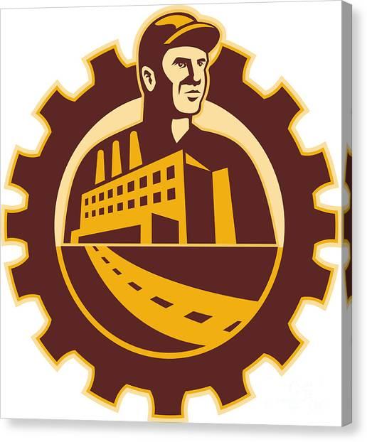 Factories Canvas Print - Factory Worker Mechanic With Cog Building by Aloysius Patrimonio
