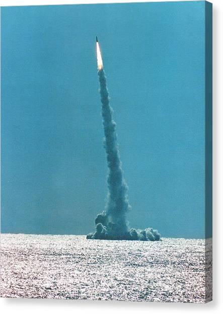 Warheads Canvas Print - Failed Trident Missile Test Launch by Us Navy/science Photo Library