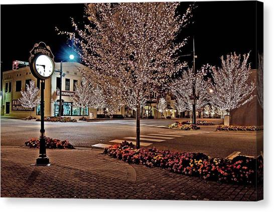 Fairhope Ave With Clock Night Image Canvas Print