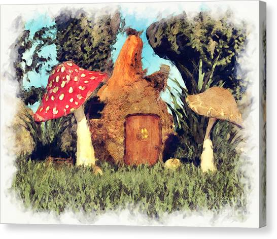 Fairy House With Toadstool Canvas Print