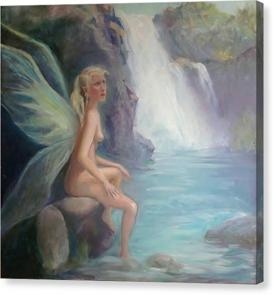 Fairy Of The Secret Falls Canvas Print by Gwen Carroll