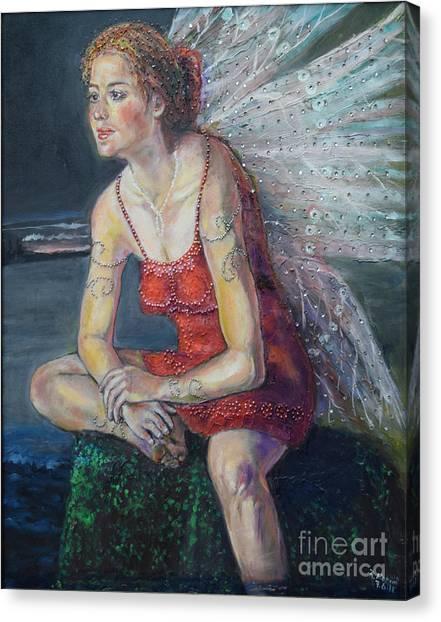 Fairy On A Stone Canvas Print