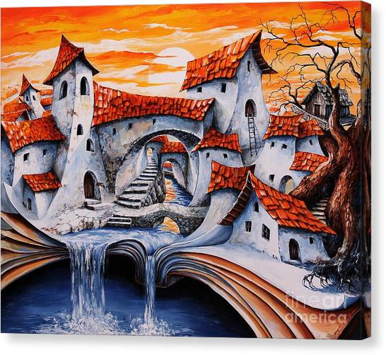 Fabled Canvas Print - Fairy Tale City - Magic Stream by Emerico Imre Toth
