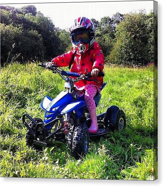 Offroading Canvas Print - Faith Having A Go Of Simons Quad by Antonia Riley
