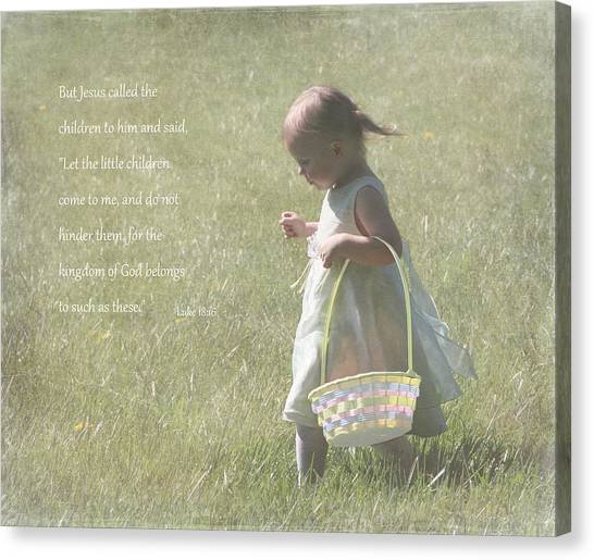 Bible Verses Canvas Print - Faith Of A Child by Angie Vogel