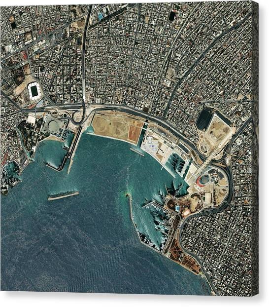 Volleyball Canvas Print - Faliro Coastal Zone by Geoeye/science Photo Library