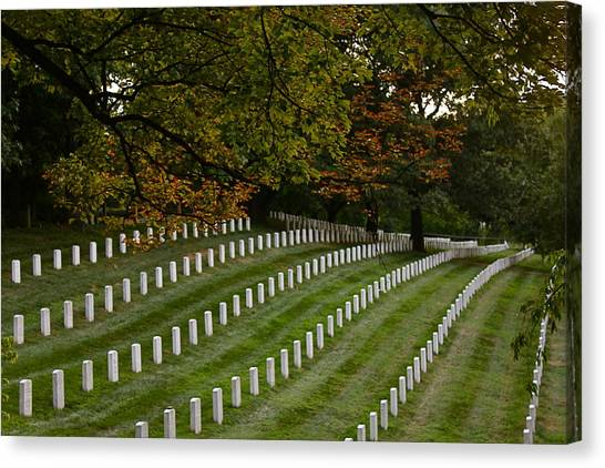 Fall At Arlington Cemetery Canvas Print by DustyFootPhotography