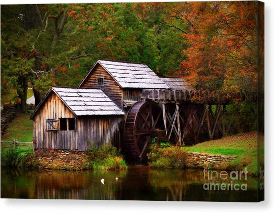 Canvas Print featuring the photograph Fall At Mabry Mill by T Lowry Wilson