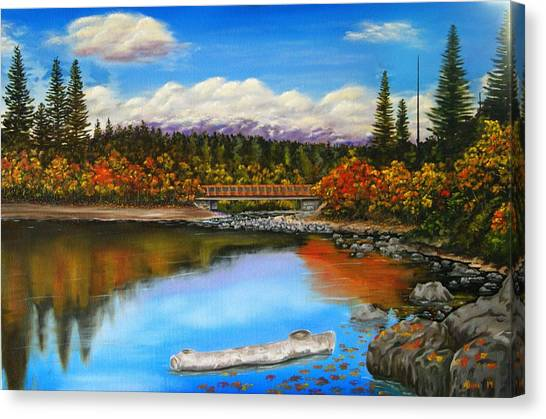 Lakeside In Autumn Canvas Print