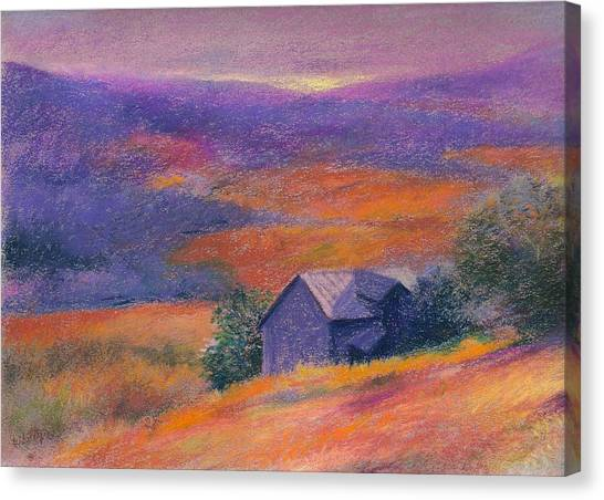 Fall Barn Pastel Landscape Canvas Print