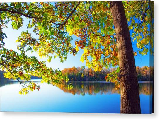 Fall By The Lake Canvas Print