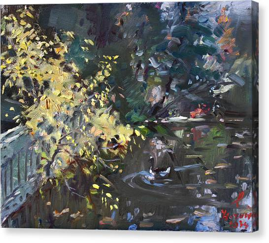 Ducks Canvas Print - Fall By The Pond by Ylli Haruni