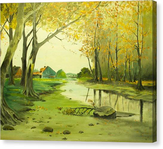 Fall By The Stream By Merlin Reynolds Canvas Print