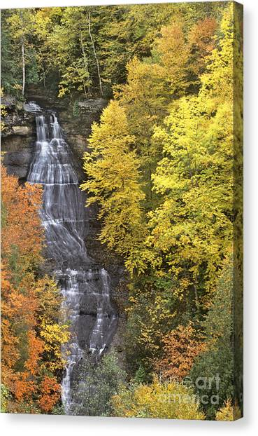 Fall Color Surrounds Chapel Falls On The Michigan Upper Peninsula Canvas Print