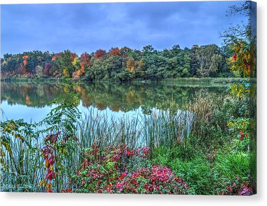 Fall Colors At Blue Hour Near Zegrze Canvas Print