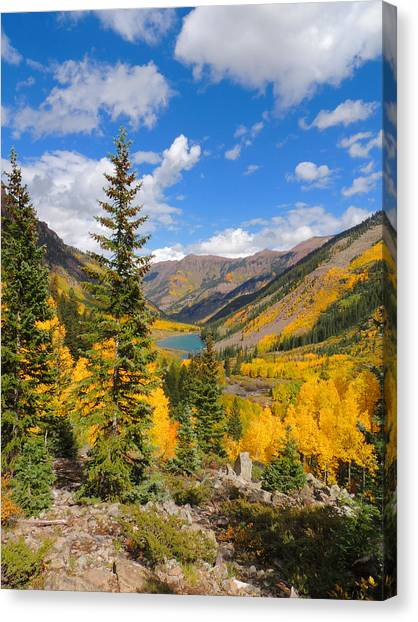 Fall Colors At Maroon Lake 2 Canvas Print by Steve Anderson