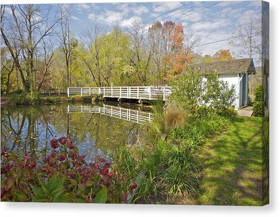 Fall Colors On The Canal Canvas Print