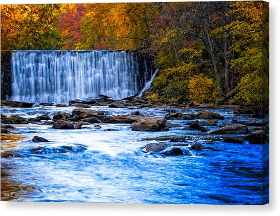 Canvas Print featuring the photograph Fall Comes To Vickery Creek In Roswell by Mark E Tisdale