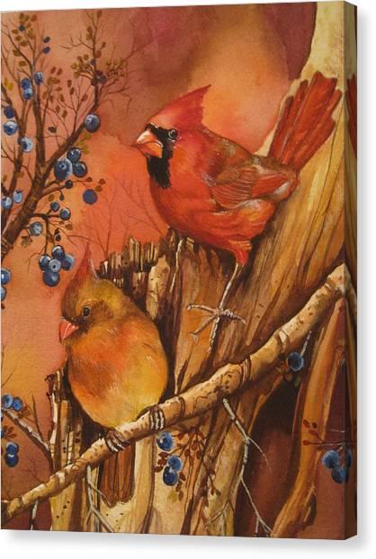 Fall Companions Canvas Print by Cheryl Borchert