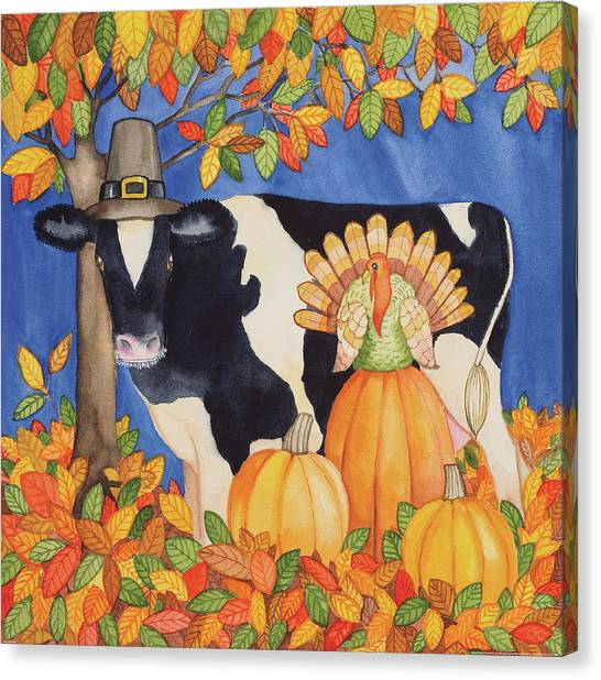 Thanksgiving Canvas Print - Fall Cow by Kathleen Parr Mckenna