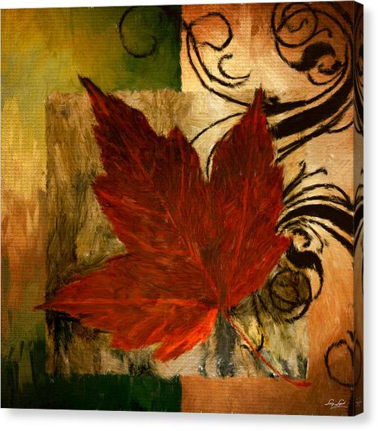 Maple Leaf Art Canvas Print - Fall Festiveness by Lourry Legarde