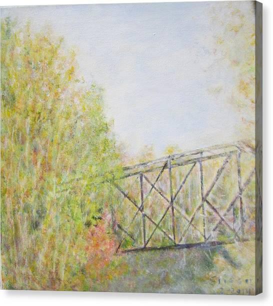 Fall Foliage And Bridge In Nh Canvas Print