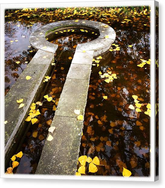 Drinks Canvas Print - Fall Foliage And Water Fountain by Matthias Hauser