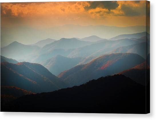 Fall Foliage Ridgelines Great Smoky Mountains Painted  Canvas Print