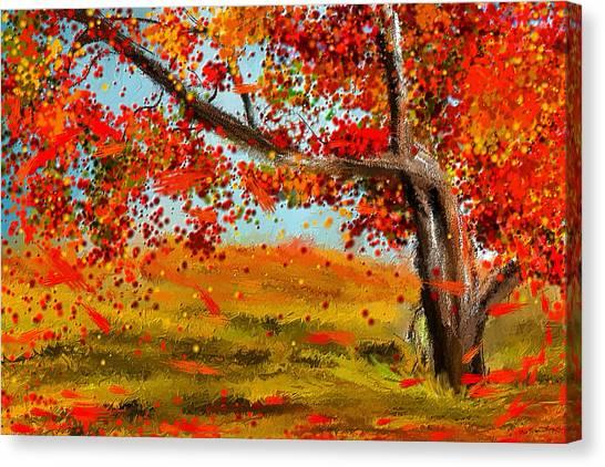 Maple Leaf Art Canvas Print - Fall Impressions by Lourry Legarde