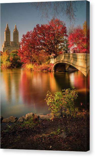 Autumn Leaves Canvas Print - Fall In Central Park by Christopher R. Veizaga