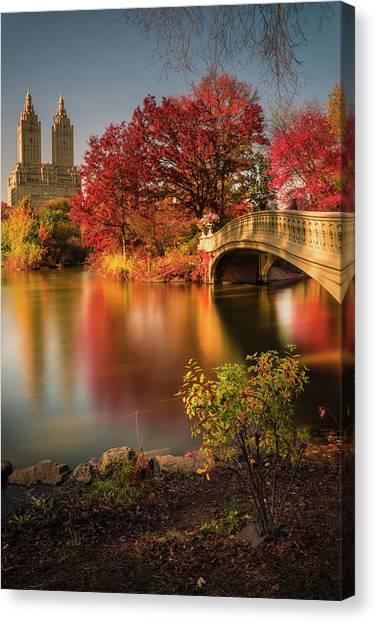 Manhattan Canvas Print - Fall In Central Park by Christopher R. Veizaga