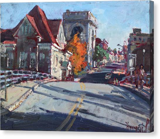 Lock Canvas Print - Fall In Town Of Lockport by Ylli Haruni