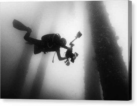 Scuba Diving Canvas Print - Fall Into The Silence by Marcel Rebro