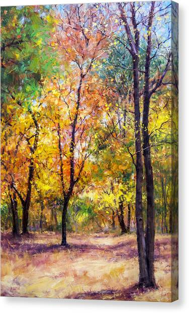 Fall Leaves At Indiana University Canvas Print by Bill Inman