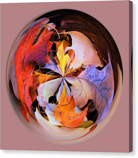 Fall Leaves Orb Canvas Print