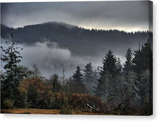 Fall Low Clouds And Fog Canvas Print