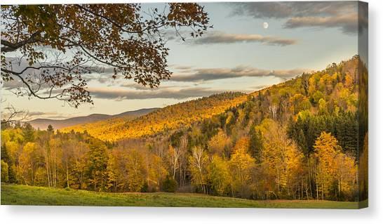 Fall Moon Nearing Sunset Canvas Print