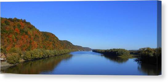 Fall On The Mississippi River  Canvas Print by Dina Stillwell