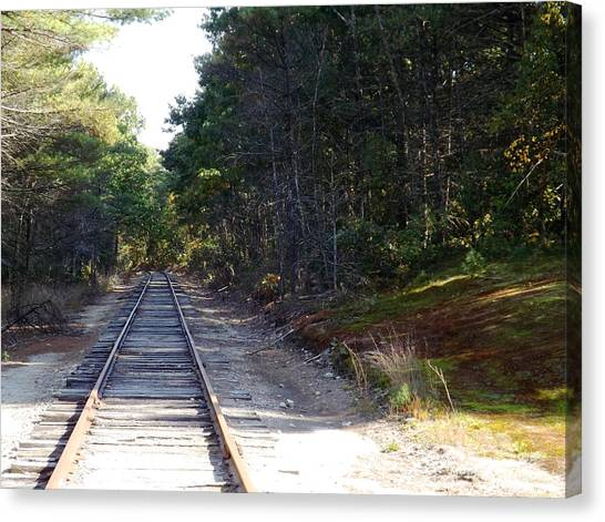 Fall Railroad Track To Somewhere Canvas Print