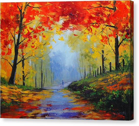 Amber Canvas Print - Fall Stroll by Graham Gercken