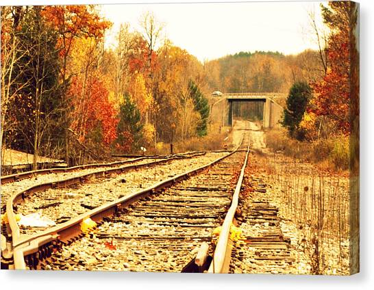 Fall Tracks Canvas Print by Stephanie Grooms