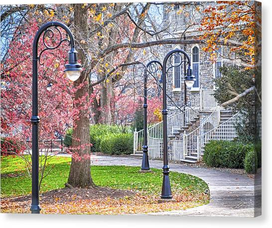 Pennsylvania State University Canvas Print - Fall Walk At Old Main  by Gregory Gill