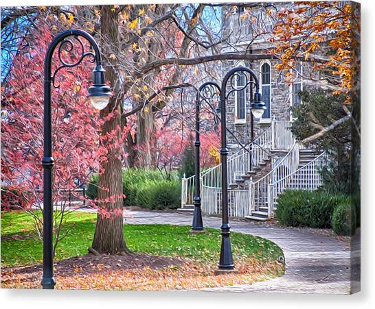 Pennsylvania State University Canvas Print - Fall Walk At Old Main II by Gregory Gill