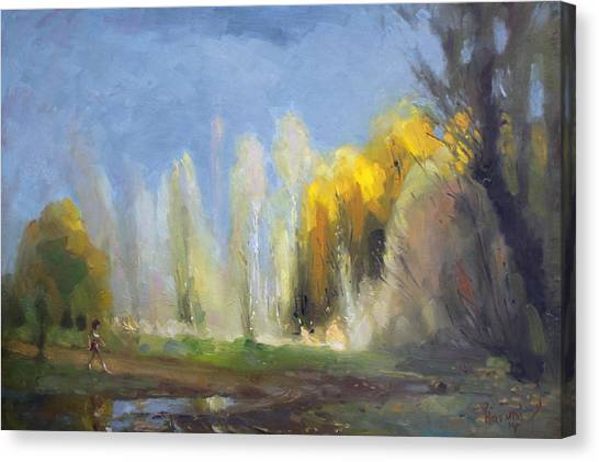 Jogger Canvas Print - Fall by Ylli Haruni