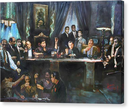 Scarface Canvas Print - Fallen Last Supper Bad Guys by Ylli Haruni