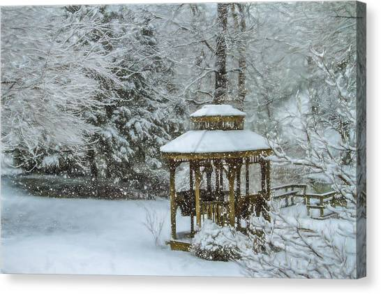 Falling Snow - Winter Landscape Canvas Print by Barry Jones