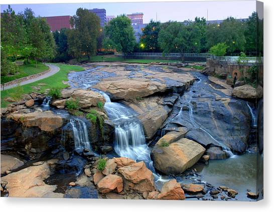 Falls Park Waterfall At Dawn In Downtown Greenville Sc Canvas Print