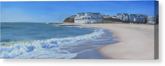 Finish Line Canvas Print - Falmouth Heights Beach Cape Cod by Sue Birkenshaw