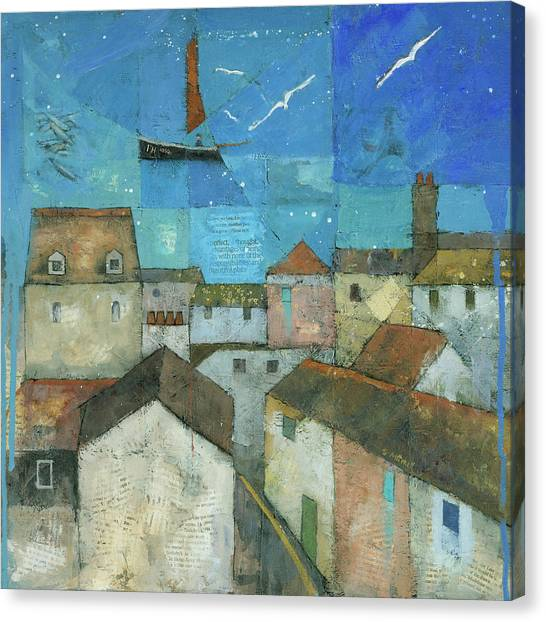 Canvas Print featuring the painting Falmouth by Steve Mitchell